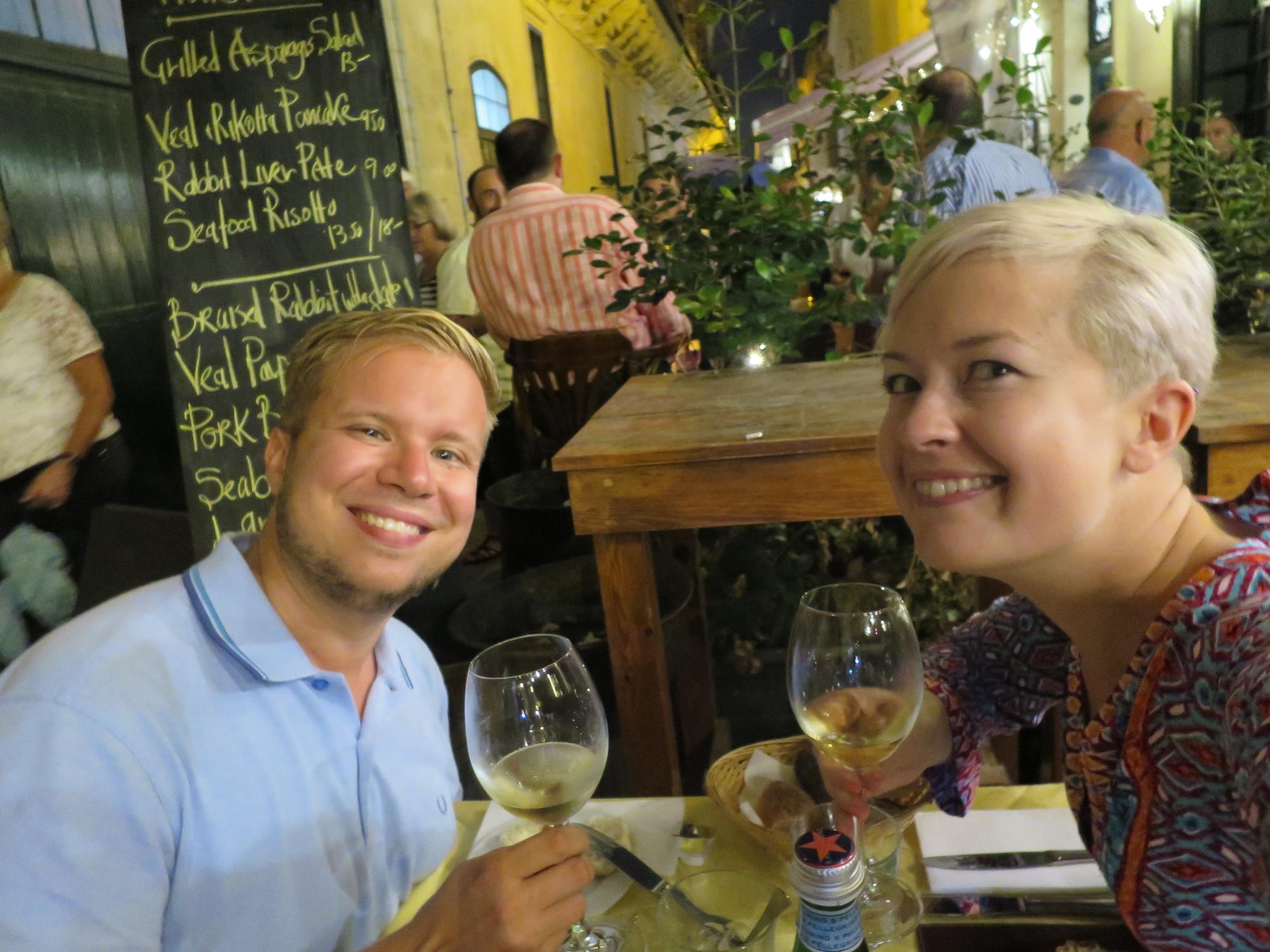Illallinen Ambrosia -nimisessä ravintolassa. Tykättiin paljon!